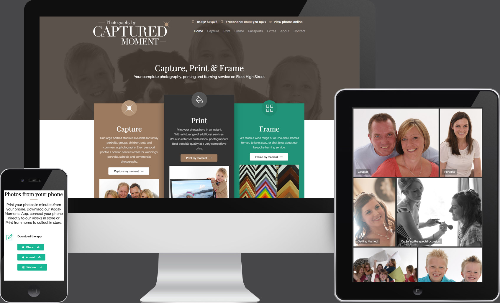 Website design for Captured Moment Photography